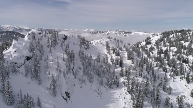Beautiful Day in Winter Wonderland with Aerial of Snowy Mountain Forest and Lowland Fog Clouds video