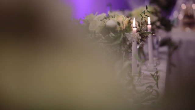 Beautiful decorated table on wedding day. stock video