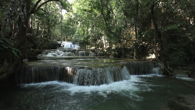 beautiful deep forest waterfall pour downward rapidly to each step