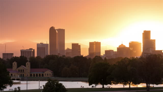 Beautiful Denver, Colorado Skyline from Day to Night Sunset Timelapse