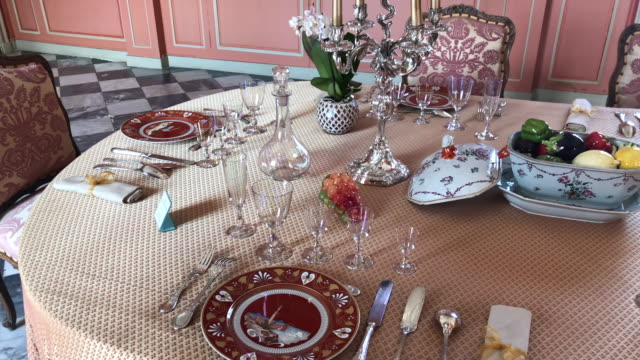 beautiful dining table set for dinner at chateau de villandry france - porcellana video stock e b–roll
