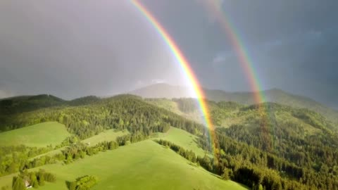 Beautiful double rainbow moving over fresh green forest landscape in sunny summer evening after rain Aerial Beautiful colors of double rainbow moving over fresh green forest nature landscape in sunny summer evening after rain shower. Aerial view, Pan, Panoramic. high up stock videos & royalty-free footage