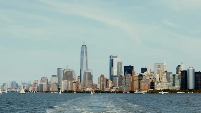 Beautiful downtown landscape on the Manhattan, New York, America from the boat riding through the East river video