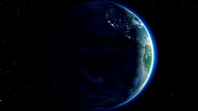 Beautiful Earth rotation 360 degrees. Night. Looped animation. HD 1080. video