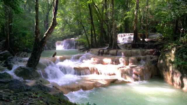 Beautiful Erawan Waterfall at Kanchanaburi in Thailand video