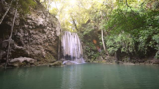 Beautiful Erawan waterfall national park kanchanaburi The day that have sunlight. asia Thailand