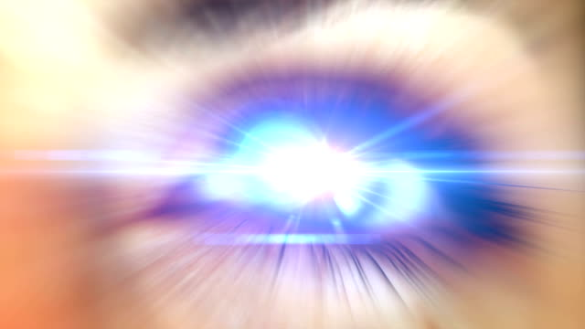Beautiful Eye with flare. HD A beautiful eye with a rays and flare effects. eyes closed videos stock videos & royalty-free footage