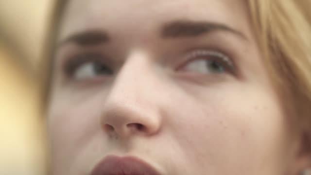 beautiful eyes of a girl close up - pesche bambino video stock e b–roll