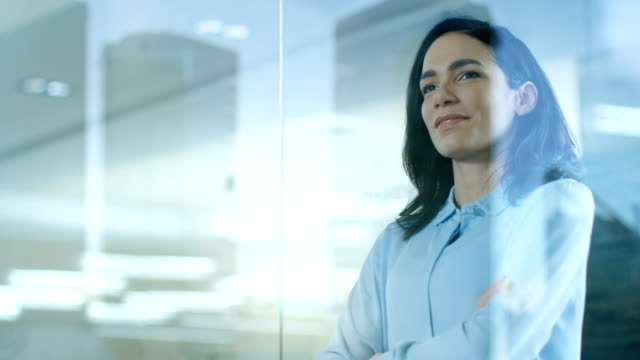 Beautiful Female CEO in Her Office Looks out of the Window on a Big City. Strong Independent Woman with Big Accomplishments Behind and Ahead of Her. Beautiful Female CEO in Her Office Looks out of the Window on a Big City. Strong Independent Woman with Big Accomplishments Behind and Ahead of Her. Shot on RED EPIC-W 8K Helium Cinema Camera. independence stock videos & royalty-free footage