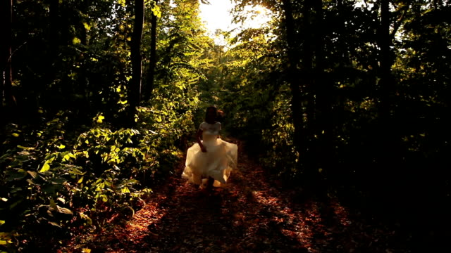 Beautiful Female White Dress Running Forest Happiness Concept HD video