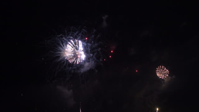 beautiful firework display celebration on black and dark sky background - fourth of july стоковые видео и кадры b-roll
