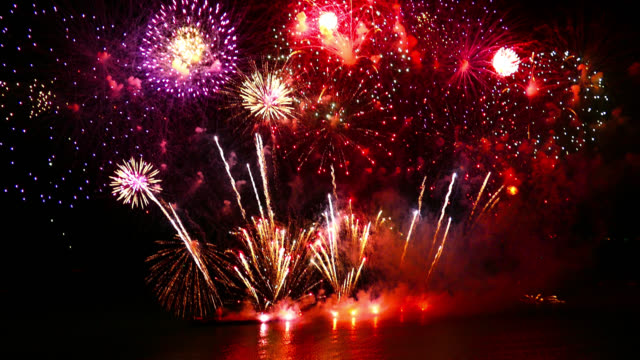 Beautiful Firework display on sky at night Beautiful Firework display on sky at night happy 4th of july videos stock videos & royalty-free footage