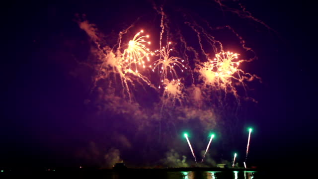 beautiful fireworks from boats on sea video