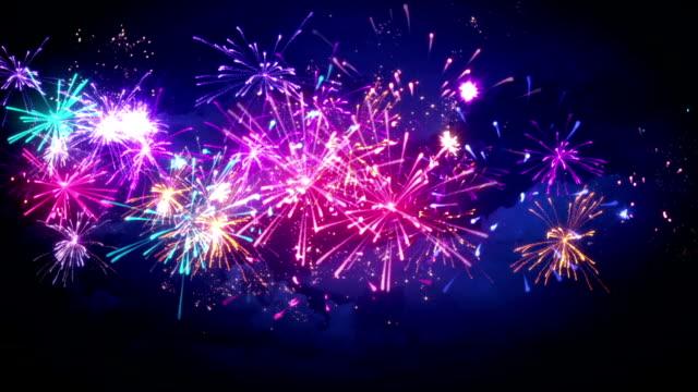 beautiful fireworks in night sky seamless loop animation video