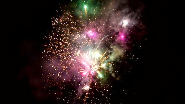 Beautiful fireworks video in celebration day, loop Beautiful fireworks video in celebration day. This salute can be seen at the opening of the festival , on independence day, new year and other holidays, loop firework explosive material stock videos & royalty-free footage