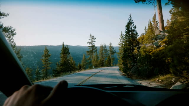 beautiful first person view of male hand holding car steering wheel driving along mountain road in yosemite slow motion. - campeggio video stock e b–roll