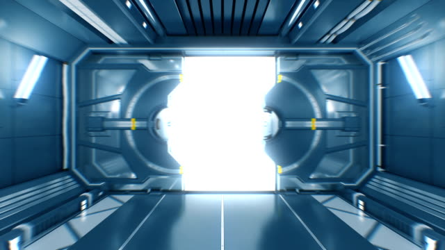 Beautiful Flight Out from the Abstract Futuristic Spaceship Tunnel Through Opening Metal Gates to White Light with Alpha Matte. 3d Animation. Beautiful Flight Out from the Abstract Futuristic Spaceship Tunnel Through Opening Metal Gates to White Light with Alpha Matte. 3d Animation. 4k Ultra HD 3840x2160. gate stock videos & royalty-free footage