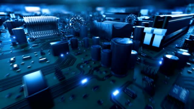 bellissimo volo sulla carta principale con segnali blu sui binari e movimento all'interno del processore. animazione 3d astratta nel cyberspazio con flash luminosi e numeri. concetto digitale. - scheda a circuito video stock e b–roll