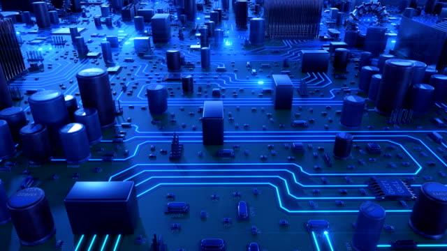 vídeos y material grabado en eventos de stock de hermoso vuelo sobre la placa madre con la luz azul. bucle de animación en 3d del circuito con las llamaradas. concepto digital y tecnología. - placa madre