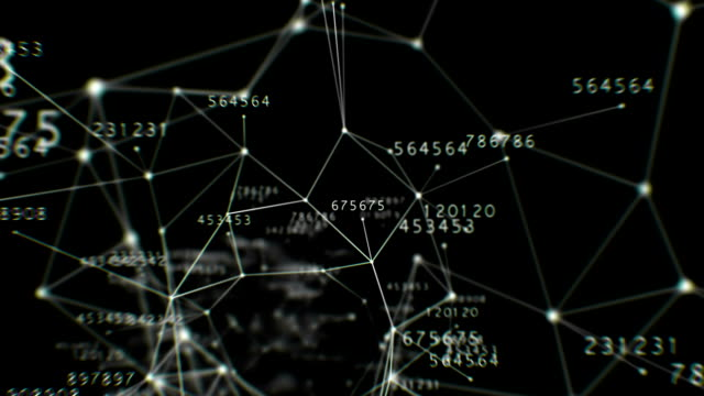 Beautiful Flight Through the Digital Tunnel with Numbers. Connecting Lines and Dots. Abstract Space Background with Tunnel Grid. Looped 3d animation. HD 1080. video
