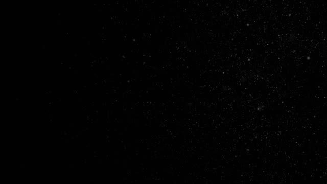아름 다운 슬로우 모션에 검은색에 유기 먼지 입자를 떠. 동적 바람 bokeh와 공기에서 입자의 3d 애니메이션 반복 - 분위기 스톡 비디오 및 b-롤 화면