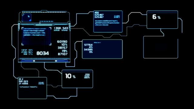 schöne flussdiagramme zeichnen animation mit blitzen blaue farbe. futuristische hud mit zahlen und codes laufen. head-up-display computerdaten. hightech-konzept-element. - flussdiagramm stock-videos und b-roll-filmmaterial