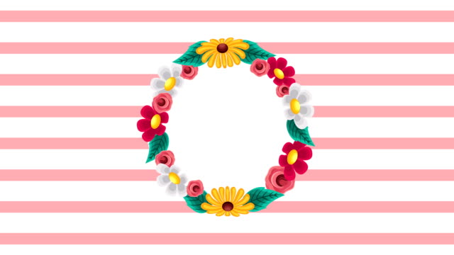 beautiful flowers garden circular frame