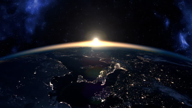 beautiful footage of sunset over earth - lungo video stock e b–roll