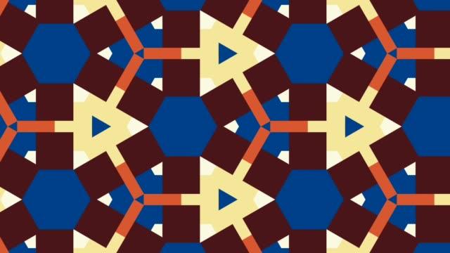 bellissimo triangolo frattale geometria forme sfondo grafico - caleidoscopio motivo video stock e b–roll