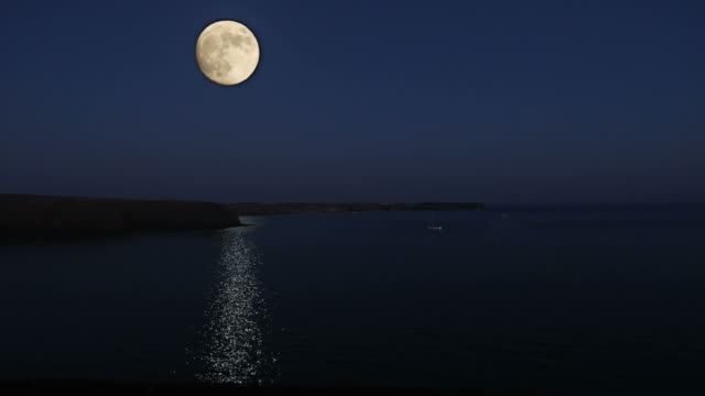 Beautiful full moon over the sea ,romantic