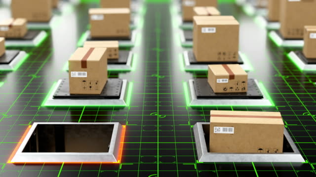 Beautiful Futuristic High-tech Warehouse Parcels Rising on Lifts and Digital Floor Indicates Seamless. Looped 3d Animation of Cardboard Boxes. Storage and Delivery Concept.