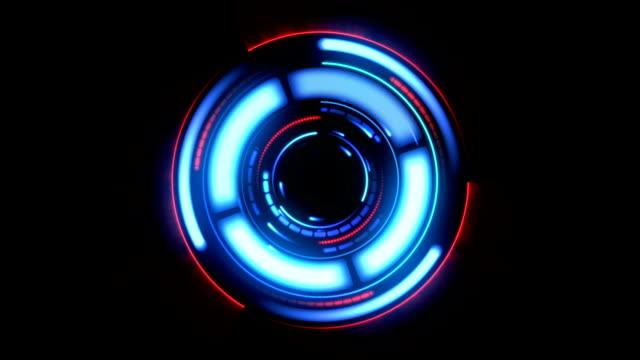 vídeos de stock, filmes e b-roll de bela hud futurista com flashes e brilho. em loop girar elementos vermelho e azul. head up display dados de computador. elemento do conceito de alta tecnologia. - holograma