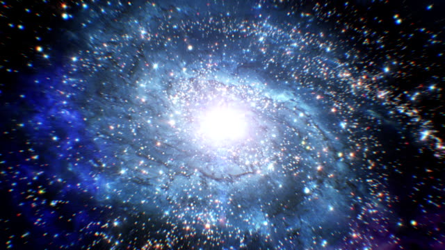 beautiful galaxy with bright twinkling stars. flying in space. - big bang video stock e b–roll