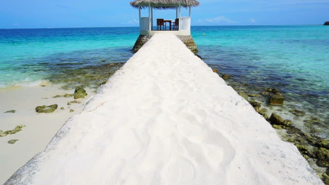 Beautiful gazebo on white sand perspective at Maldives sea video