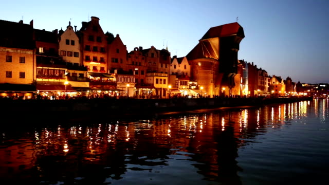 Beautiful Gdansk Cityscape, Krantor, Motlawa River, Old Ship, Medieval Town video