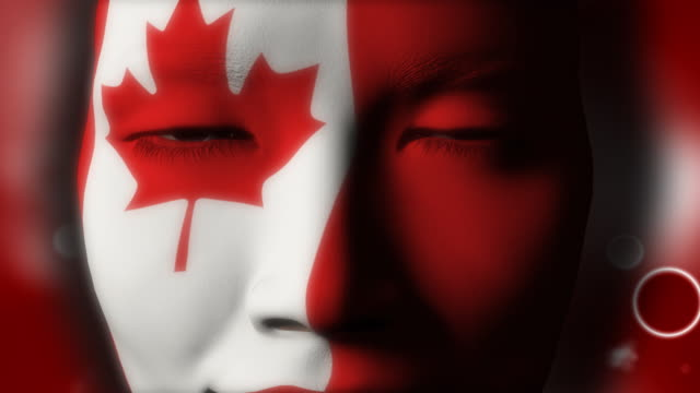 Beautiful girl CANADA flag face painted video