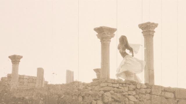 beautiful girl dancing in the ancient ruins video