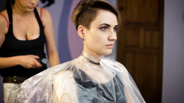 Beautiful girl in a beauty salon video