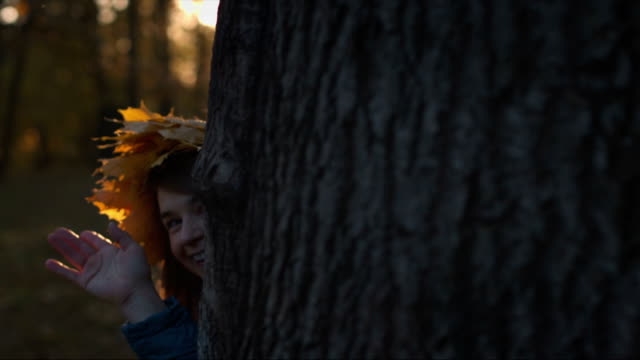 Beautiful girl is hiding behind a tree video