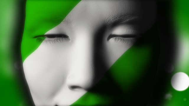 Beautiful girl NIGERIAN flag face painted video