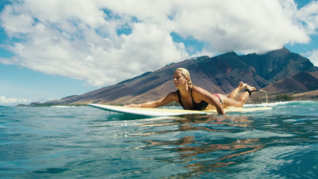 Beautiful girl paddling surfboard over blue ocean wave video