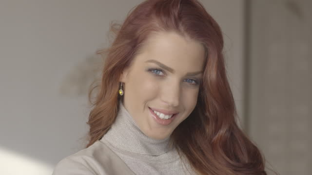 Beautiful Girl Portrait. 4k. Adult, Adults Only, Blond Hair, Caucasian Ethnicity, dyed red hair stock videos & royalty-free footage