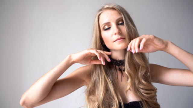 beautiful girl posing on photo shoot fashion flirt video