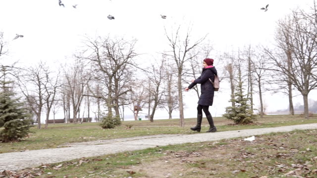 Beautiful girl running through the park and frightens pigeons Beautiful girl running through the park and frightens pigeons diving to the ground stock videos & royalty-free footage