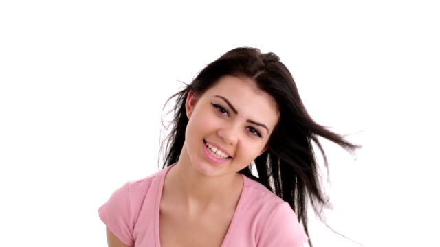 Beautiful girl smiling and posing at camera video
