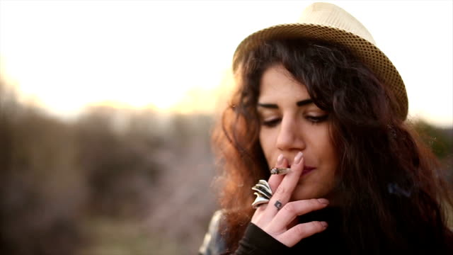 Beautiful girl Smoking marijuana video