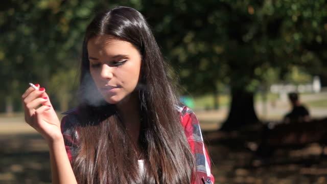 Beautiful girl smoking video
