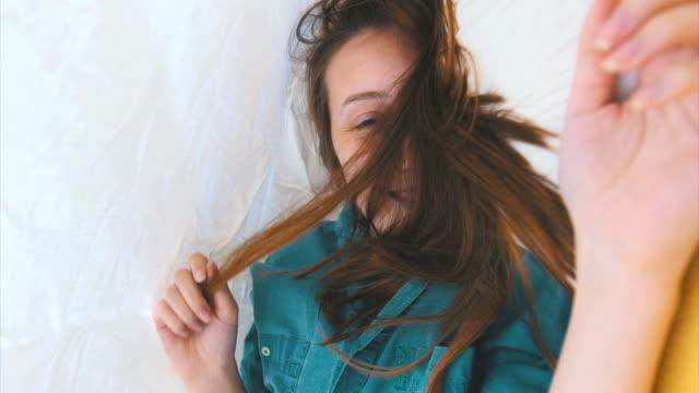 Beautiful girl under the sheet video
