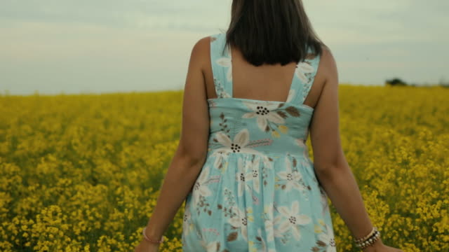 beautiful girl walking in the field of yellow flowers. smiles and laughs - colza video stock e b–roll