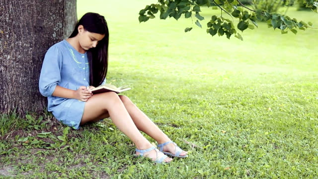 A Beautiful girl with long hair reads a book sitting under a tree on a sunny day video